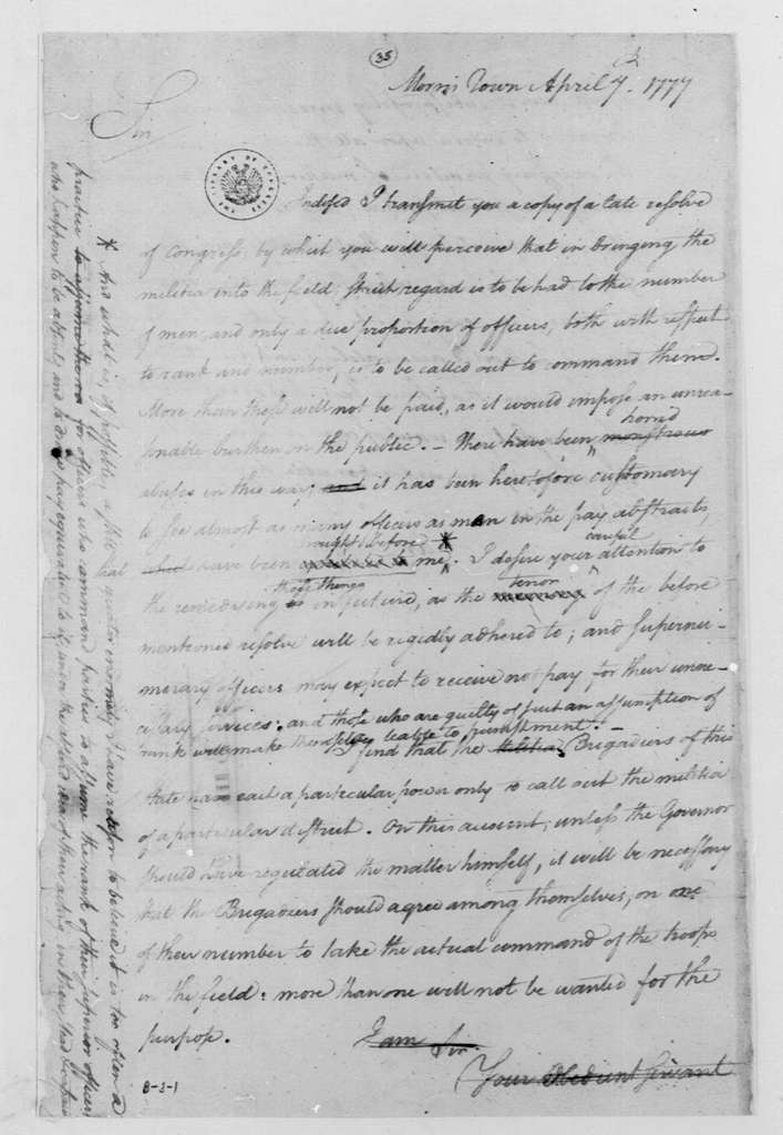 George Washington Papers, Series 4, General Correspondence: George Washington to Nathaniel Heard and William Winds, April 7, 1777