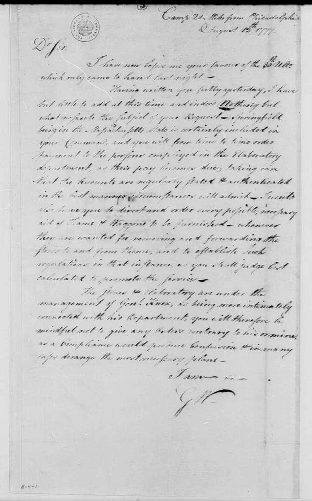 George Washington Papers, Series 4, General Correspondence: George Washington to Nathanael Greene, August 12, 1777