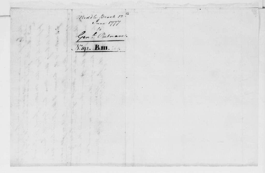 George Washington Papers, Series 4, General Correspondence: George Washington to Israel Putnam, June 12, 1777
