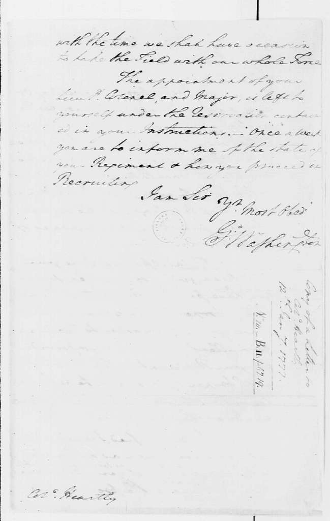 George Washington Papers, Series 4, General Correspondence: George Washington to Thomas Hartley, January 12, 1777