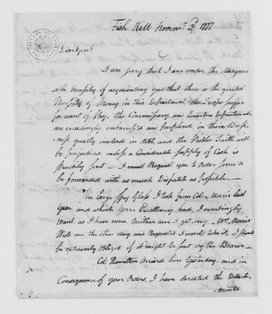 George Washington Papers, Series 4, General Correspondence: Israel Putnam to George Washington, November 3, 1777