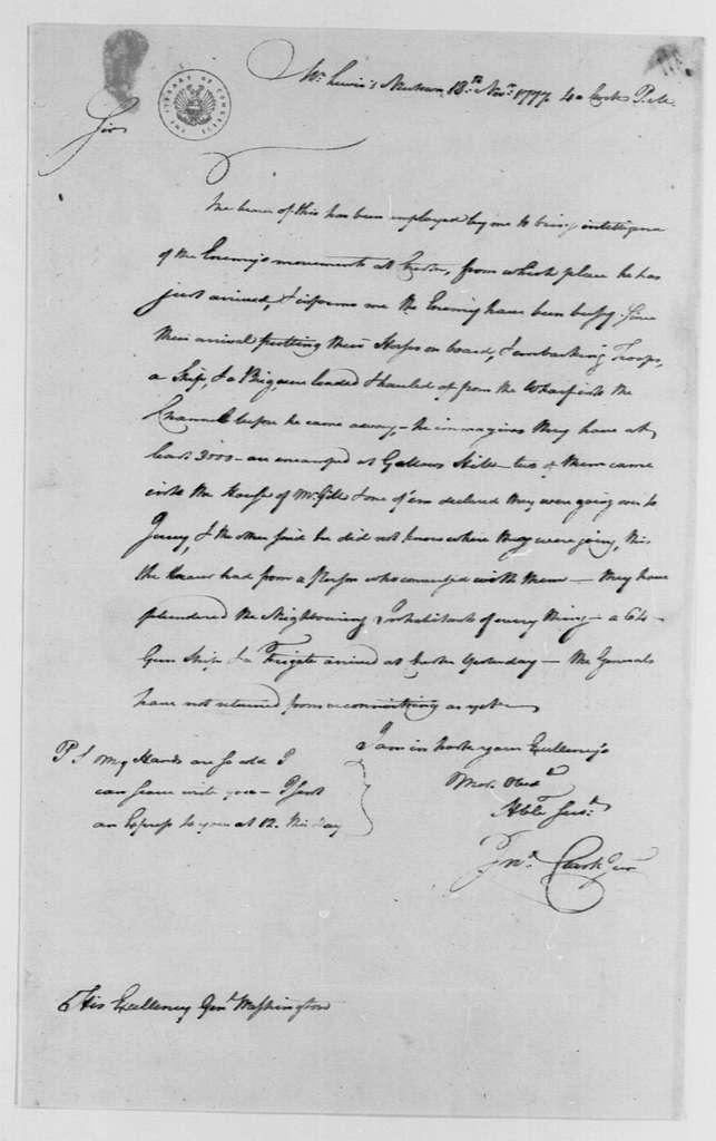 George Washington Papers, Series 4, General Correspondence: John Clark Jr. to George Washington, November 18, 1777, three same date