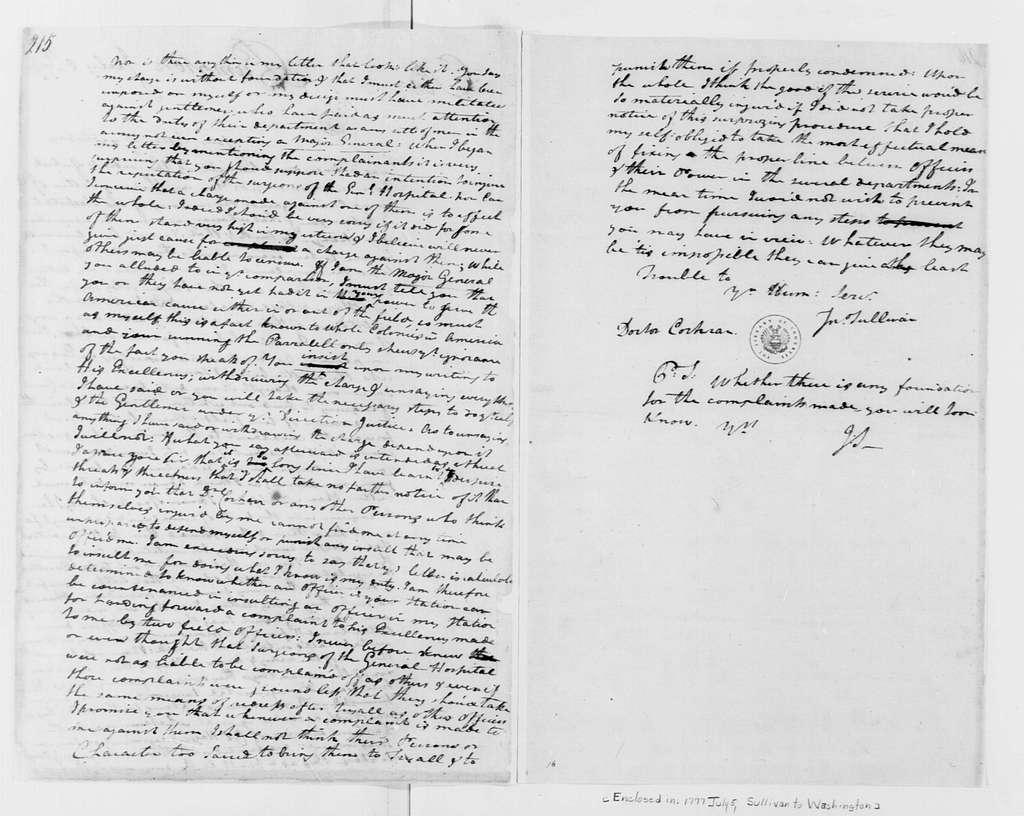 George Washington Papers, Series 4, General Correspondence: John Sullivan to John Cochran, July 5, 1777