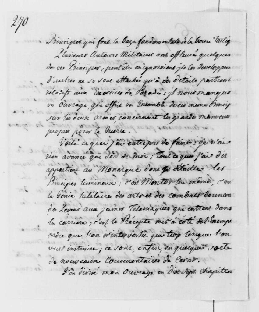 George Washington Papers, Series 4, General Correspondence: Lewis Casimir, Baron de Holtzendorff, August 16, 1777, Prospectus on Military Tactics; in French