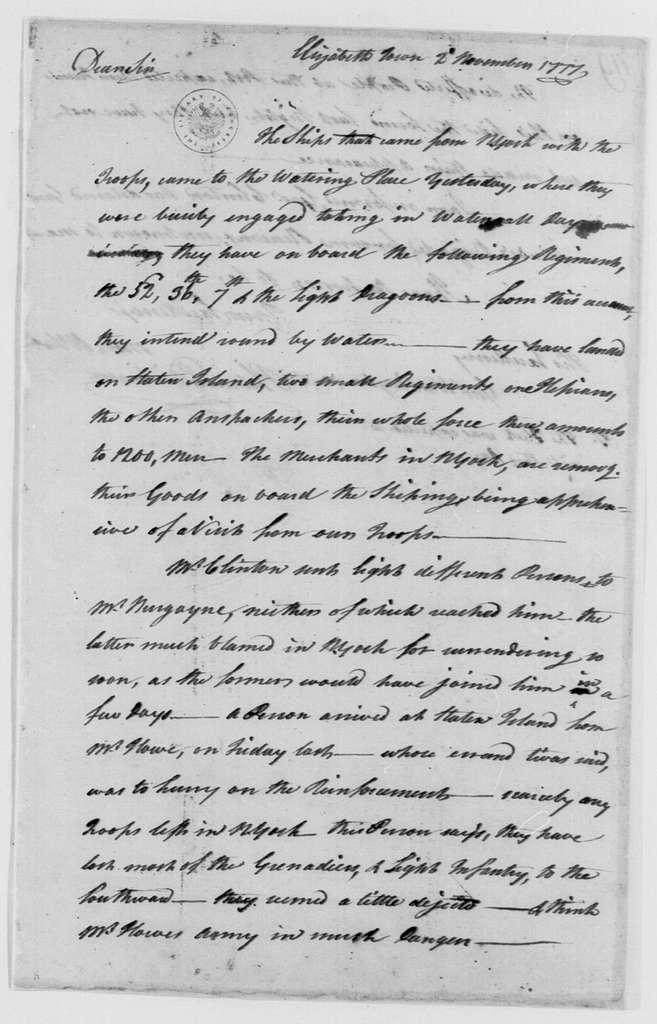 George Washington Papers, Series 4, General Correspondence: Philemon Dickinson to George Washington, November 2, 1777