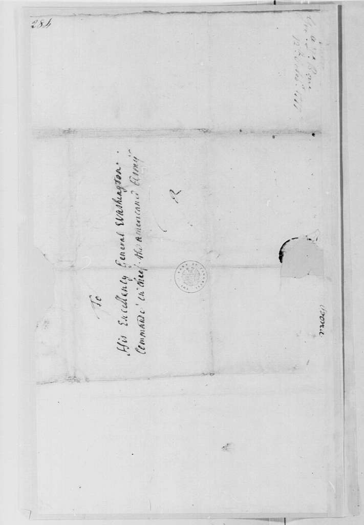 George Washington Papers, Series 4, General Correspondence: Preudhomme, Chevalier de Borre to George Washington, October 12, 1777