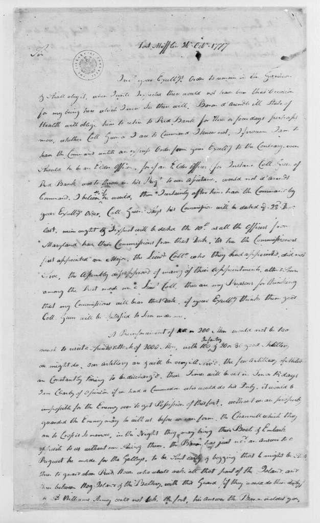 George Washington Papers, Series 4, General Correspondence: Samuel Smith to George Washington, October 26, 1777