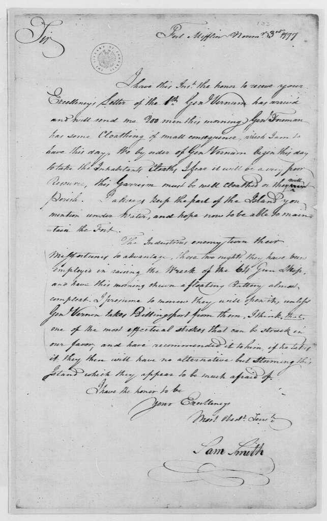 George Washington Papers, Series 4, General Correspondence: Samuel Smith to George Washington, November 3, 1777
