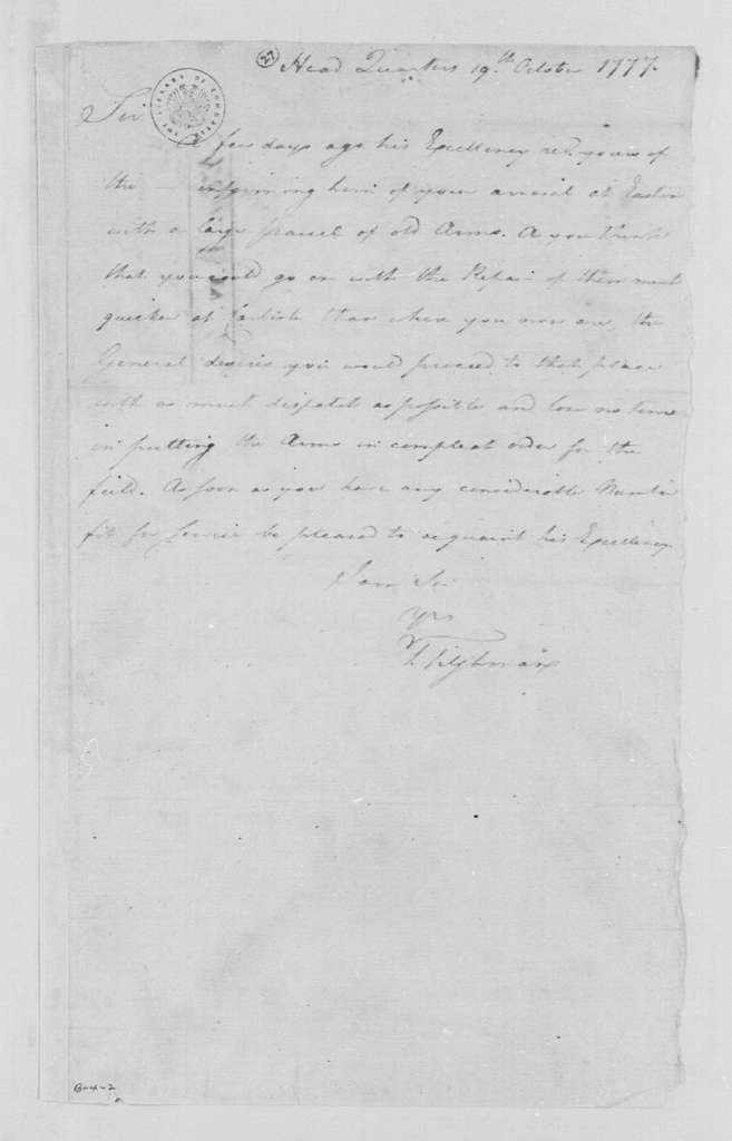 George Washington Papers, Series 4, General Correspondence: Tench Tilghman to Thomas Butler, October 19, 1777