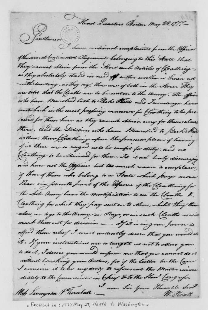 George Washington Papers, Series 4, General Correspondence: William Heath to Abraham Livingston and William Turnbull, May 23, 1777