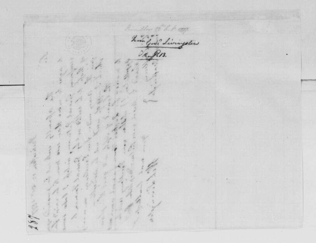 George Washington Papers, Series 4, General Correspondence: William Livingston to George Washington, October 12, 1777