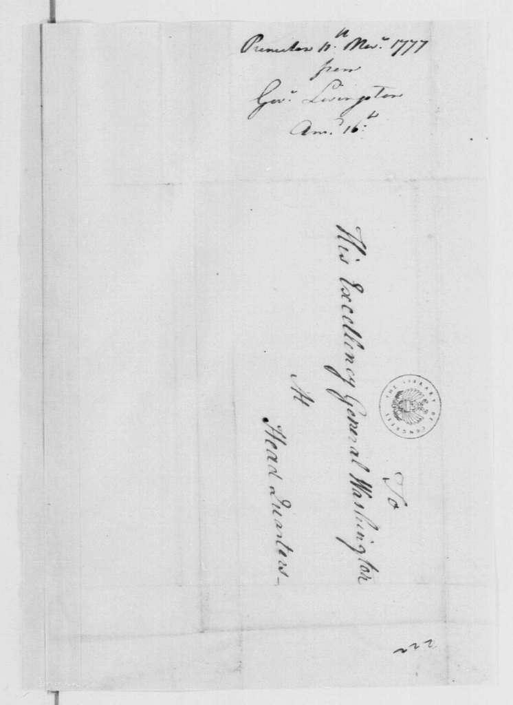 George Washington Papers, Series 4, General Correspondence: William Livingston to George Washington, November 11, 1777