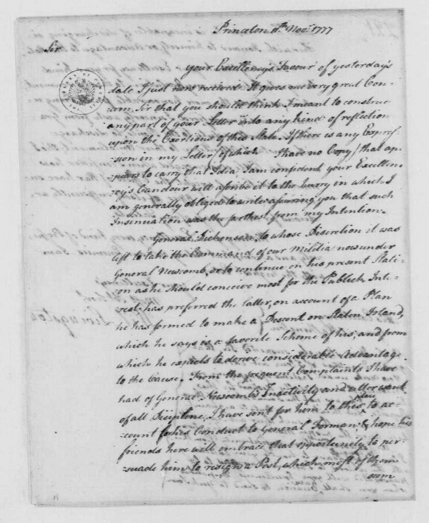 George Washington Papers, Series 4, General Correspondence: William Livingston to George Washington, November 11, 1777