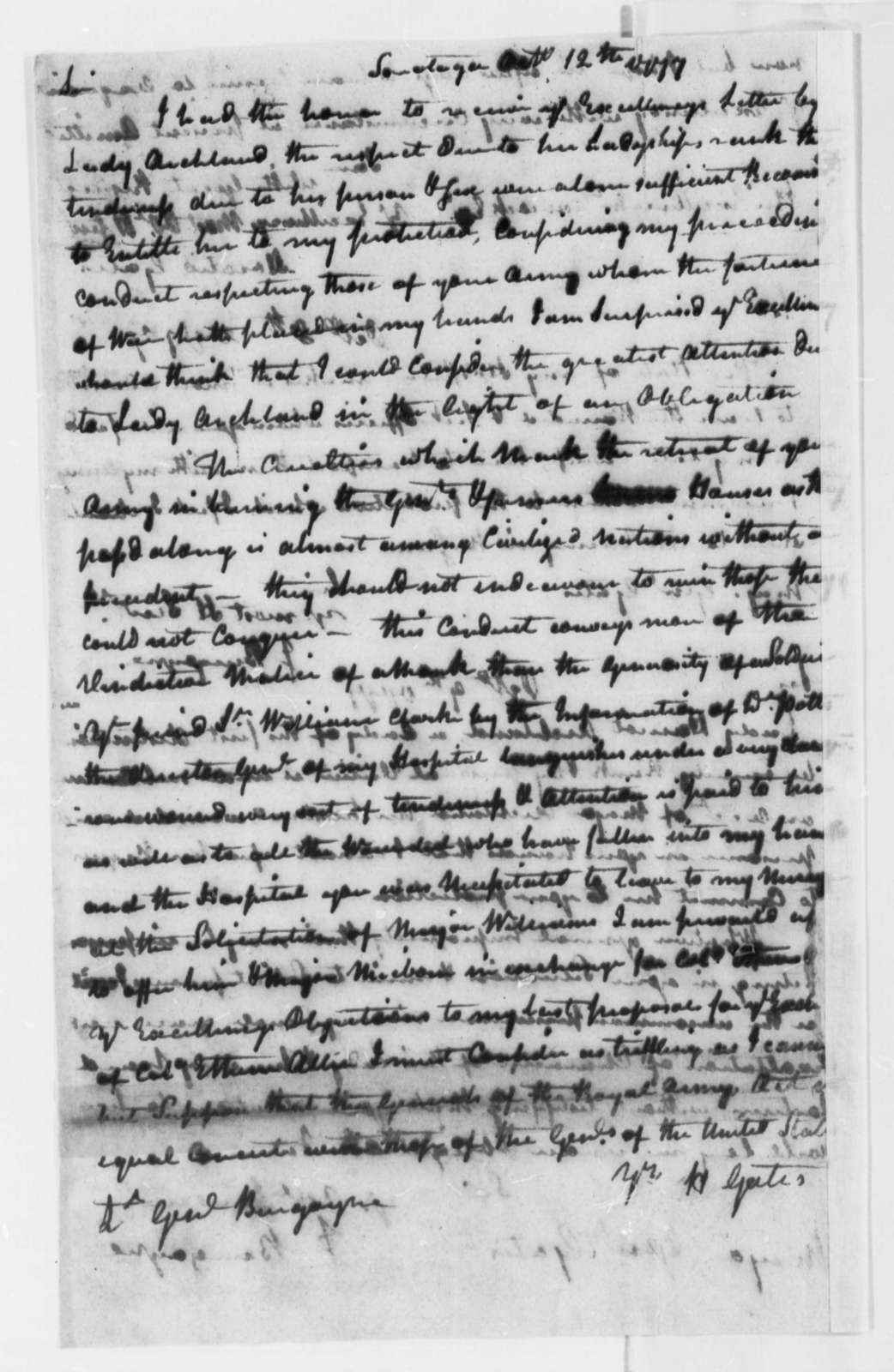 Horatio Gates to John Burgoyne, October 12, 1777, Protest at Cruelty of Retreating British Army; with note from Burgoyne