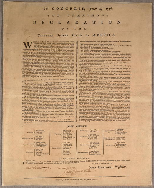 In Congress, July 4, 1776. The unanimous declaration of the thirteen United States of America.
