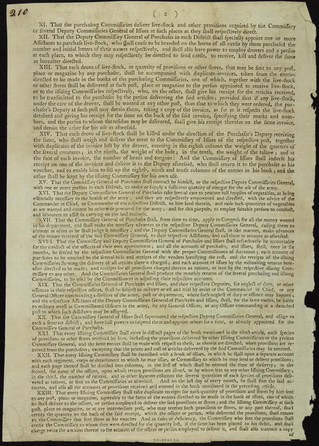 In Congress, June 10, 1777 : Resolved, I. That for supplying the Army of the United States with provisions, one commissary general and four deputy commissaries general of purchases, and one commissary general and three deputy commissaries general of issues, be appointed by Congress. ...