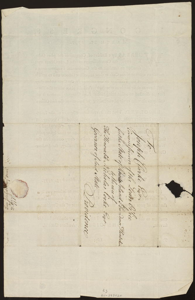 In Congress, March 25, 1777 : Whereas by a resolve of Congress of the 3d of October, 1776, the commissioners of the loan-offices were directed to transmit to the Continental Treasurer once a month an account of the cash in their respective offices ... Resolved, that the several commissioners of the loan-offices hereafter make monthly returns to the Board of Treasury ...