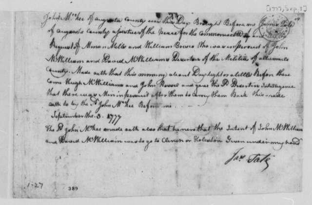 James Tate, September 3, 1777, John McKee's Deposition on Deserters