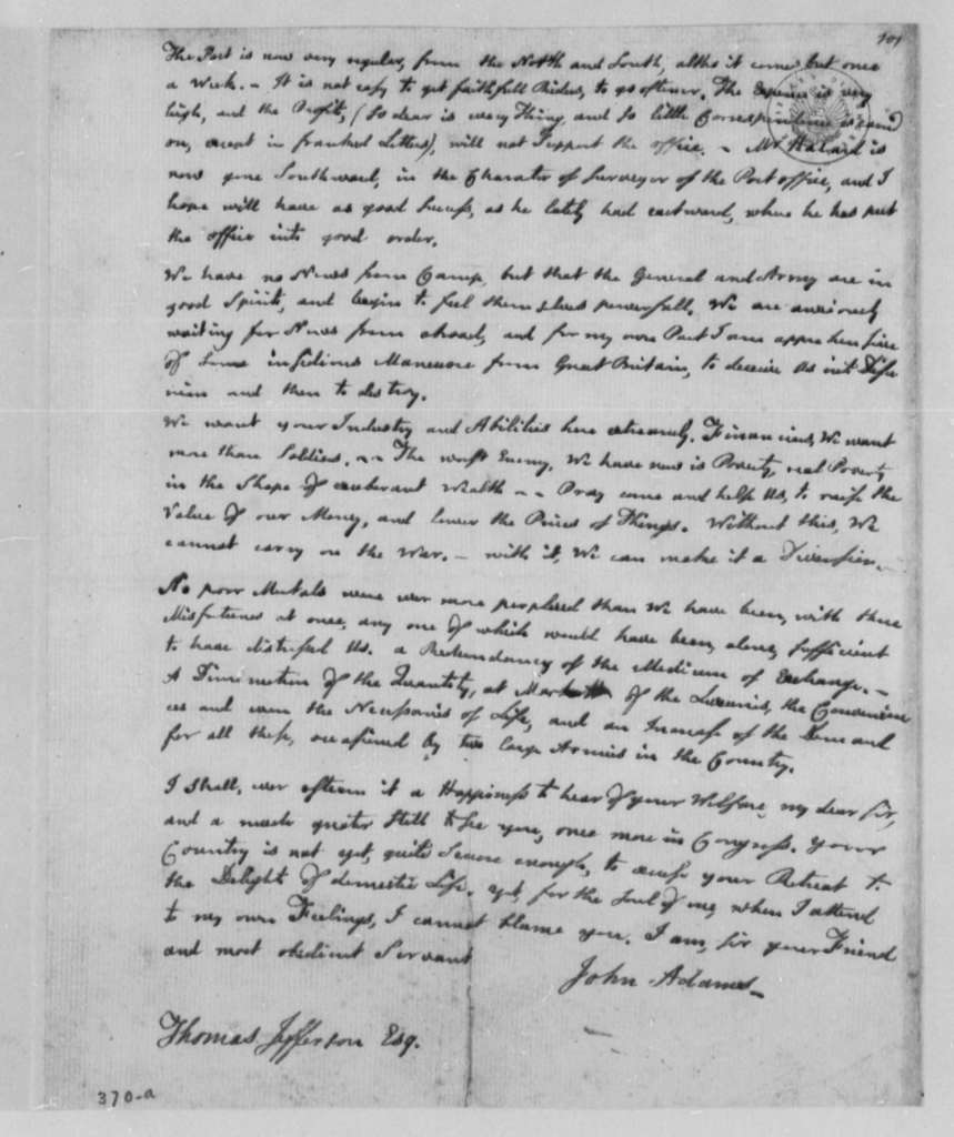John Adams to Thomas Jefferson, May 26, 1777, Military Draft Avoided; Problems Facing Continental Congress; Post Office