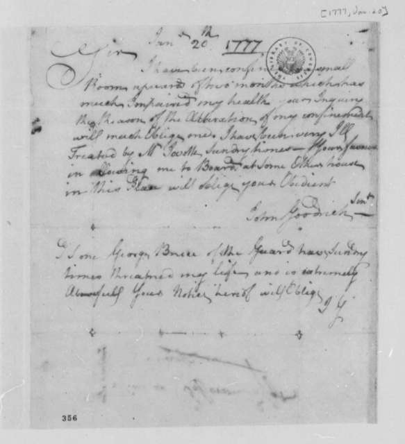 John Goodrich, Sr. to Thomas Jefferson, January 20, 1777, Complaints about Poor Conditions During Imprisonment