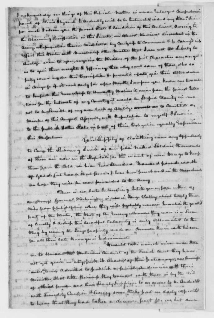 John Harvie to Thomas Jefferson, December 29, 1777, Clothing and Supplies for Continental Army; Relations with France; Avarice