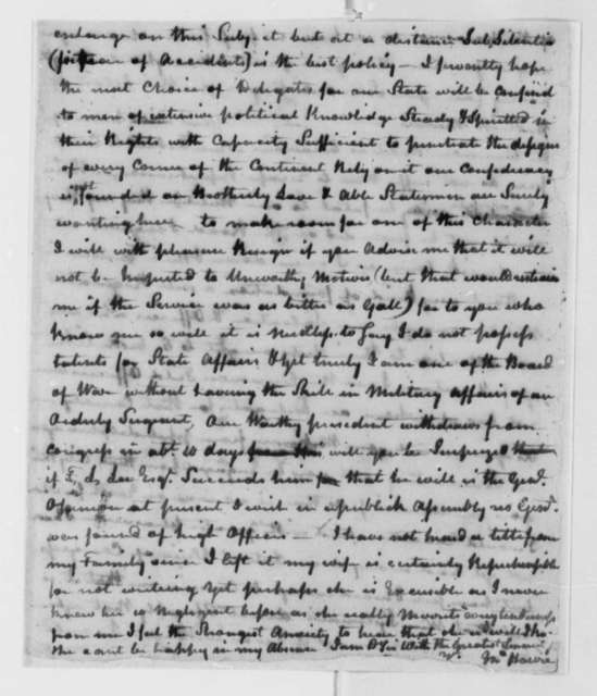 John Harvie to Thomas Jefferson, October 18, 1777, Political and Military Matters; Enclosures