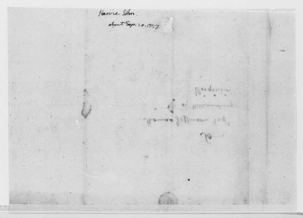 John Harvie to Thomas Jefferson, October 25, 1777, John Burgoyne's Surrender of British Army to Horatio Gates; Troop and Fleet Movements