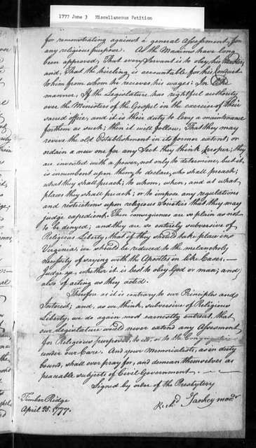 June 3, 1777, Miscellaneous, Presbytery of Hanover, to exempt dissenters from being taxed to support the established church.