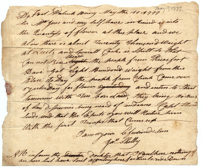Letter from James Shelby to Evan Shelby