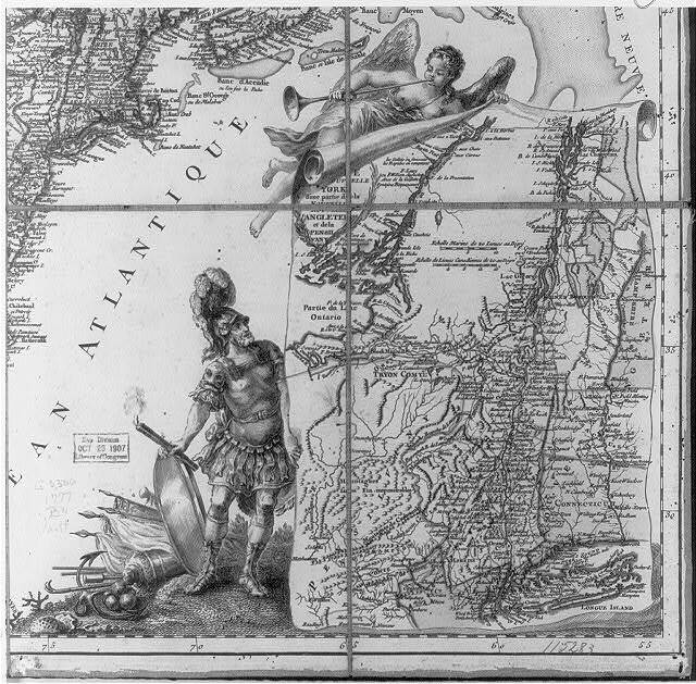 [Map ornament - Mars watches Fame unfurl a detailed map of New York and Pennsylvania] / Beaurain.