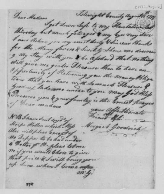 Margaret Goodrich to Mary Lewis, August 12, 1777, Thanks for Hospitality