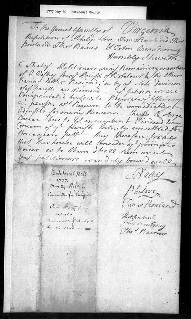 May 30, 1777, Botetourt, For clarification of legal position of decimated vestry.