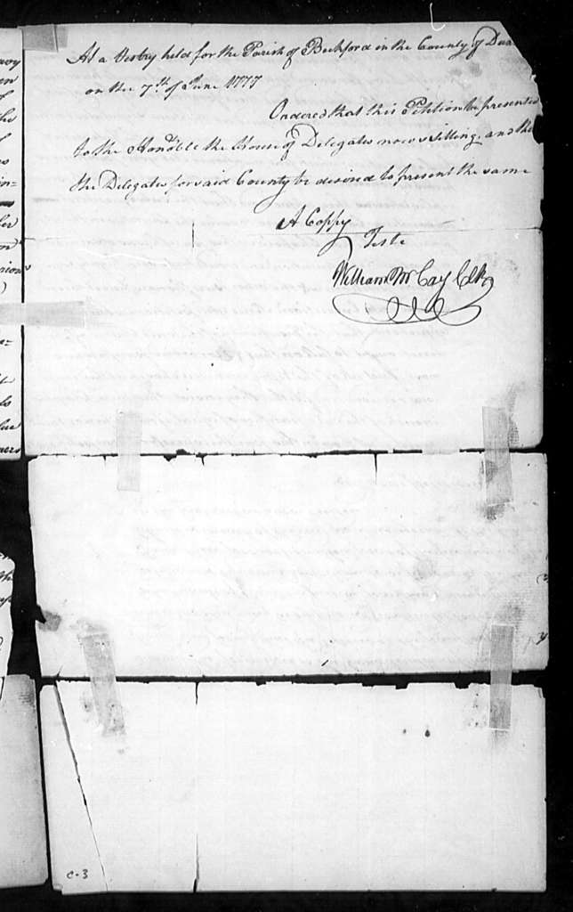 October 31, 1777, Dunmore, Beckford Parish, for act to empower vestries of Frederick and Norborne Parishes to levy taxes for repairing churches in latter two parishes.