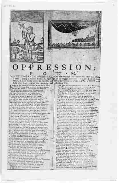 Oppression: a poem Or, New England's lamentation on the dreadful extortation and other sins of the times. Being a serious exhortation to all to repent and turn from the evil of their ways, if they would avert the terrible and heavy judgments of