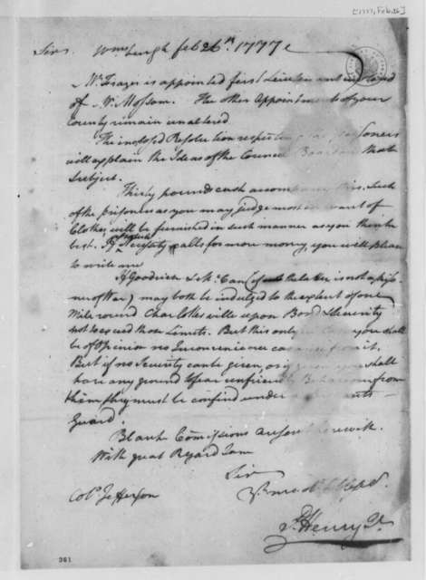 Patrick Henry to Thomas Jefferson, February 26, 1777, Treatment of British Prisoners