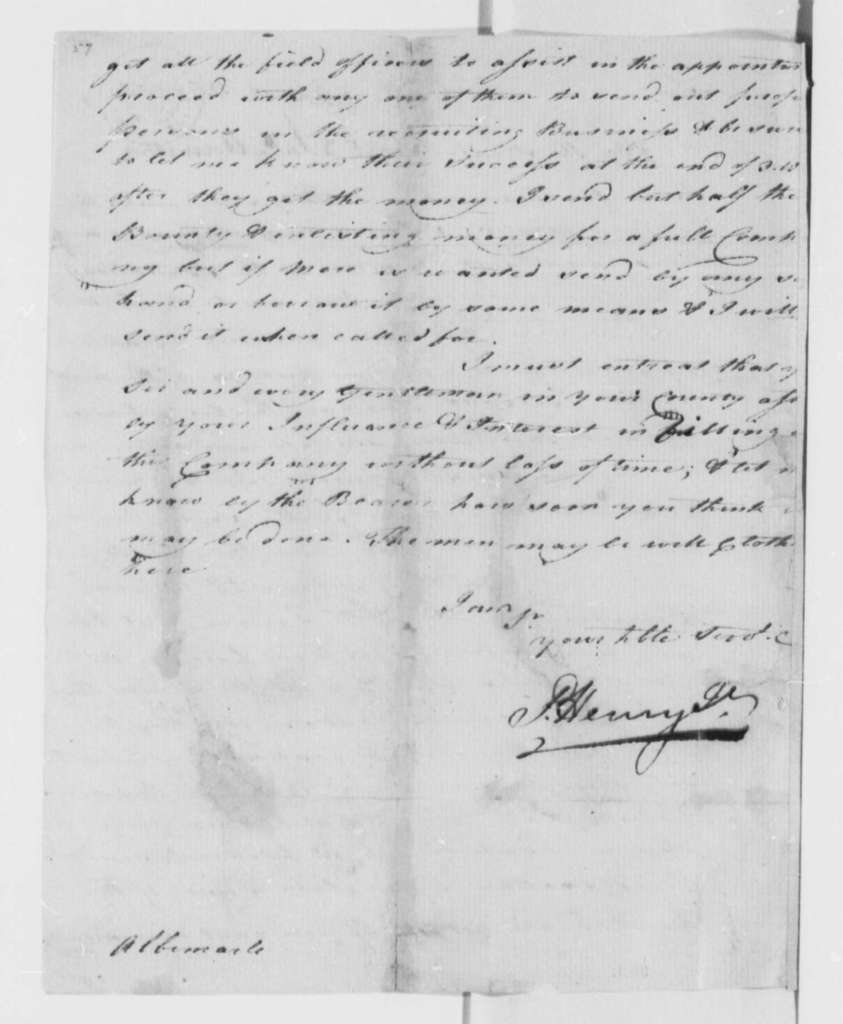Patrick Henry to Thomas Jefferson, March 31, 1777, Military Recruitment