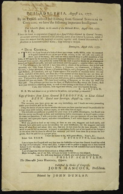 Philadelphia, August 22, 1777 : By an express arrived last evening from General Schuyler to Congress, we have the following important intelligence. ...