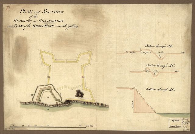 Plan and sections of the redoubt at Billingsfort and plan of the rebel fort marked yellow.
