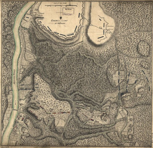 [Plan of the encampment and position of the army under His Excelly. Lt. General Burgoyne at Bræmus Heights on Hudson's River near Stillwater on the 20th Septr. with the position of the detachment &c. in the action of the 7th of Octobr. & the position of the army on the 8th Octr. 1777.