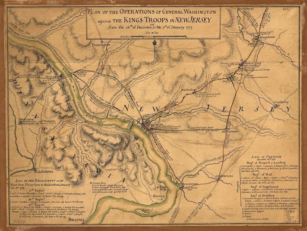 Plan of the operations of General Washington against the King's troops in New Jersey, from the 26th of December 1776 to the 3d of January 1777.