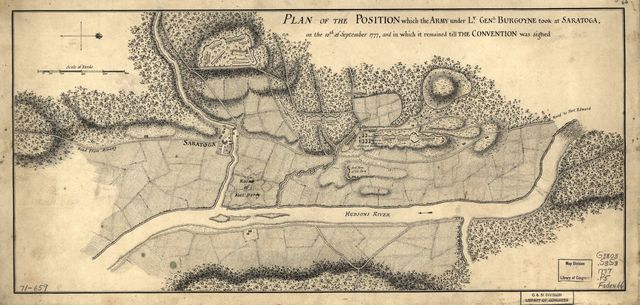 Plan of the position which the army under Lt. Genl. Burgoyne took at Saratoga, on the 10th of September 1777, and in which it remained till the convention was signed.