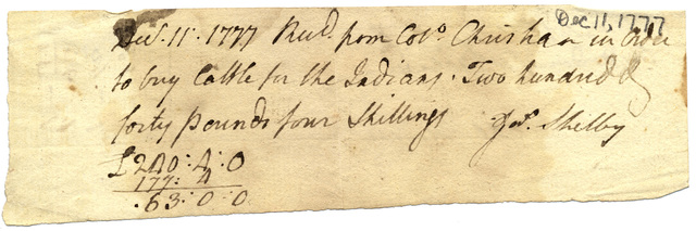 Receipt from James Shelby for funds to purchase cattle