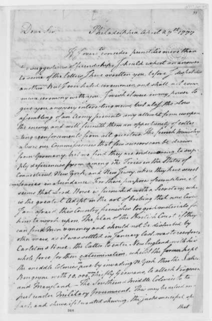 Richard Henry Lee to Thomas Jefferson, April 29, 1777, Political and Military Matters; Bribes; Recruitment