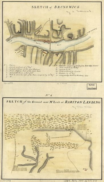 Sketch of Brunswick. Sketch of the ground near Mr. Low's at Rariton Landing.