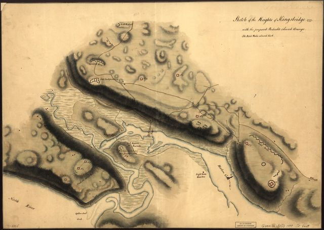 Sketch of the Heights of Kingsbridge 1777, with the proposed redoubts coloured orange. Old rebel works coloured black.