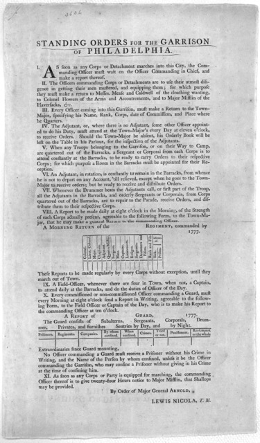 Standing orders for the garrison of Philadelphia ... By order of Major General Arnold. Lewis Nicola, T. N. [Philadelphia: Printed by Robert Aitken 1777].