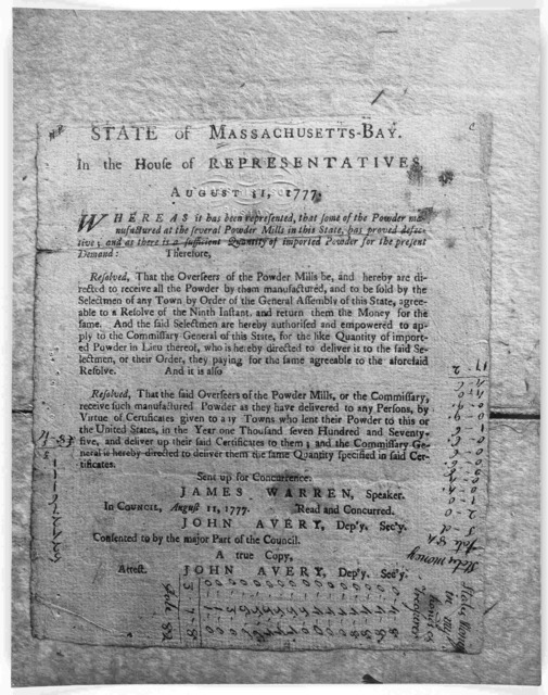 State of Massachusetts-Bay in the House of representatives. August 31, 1777. Whereas it has been represented, that some of the powder manufactured at the several powder mills in this state, has proved defective; and as there is sufficient quanti