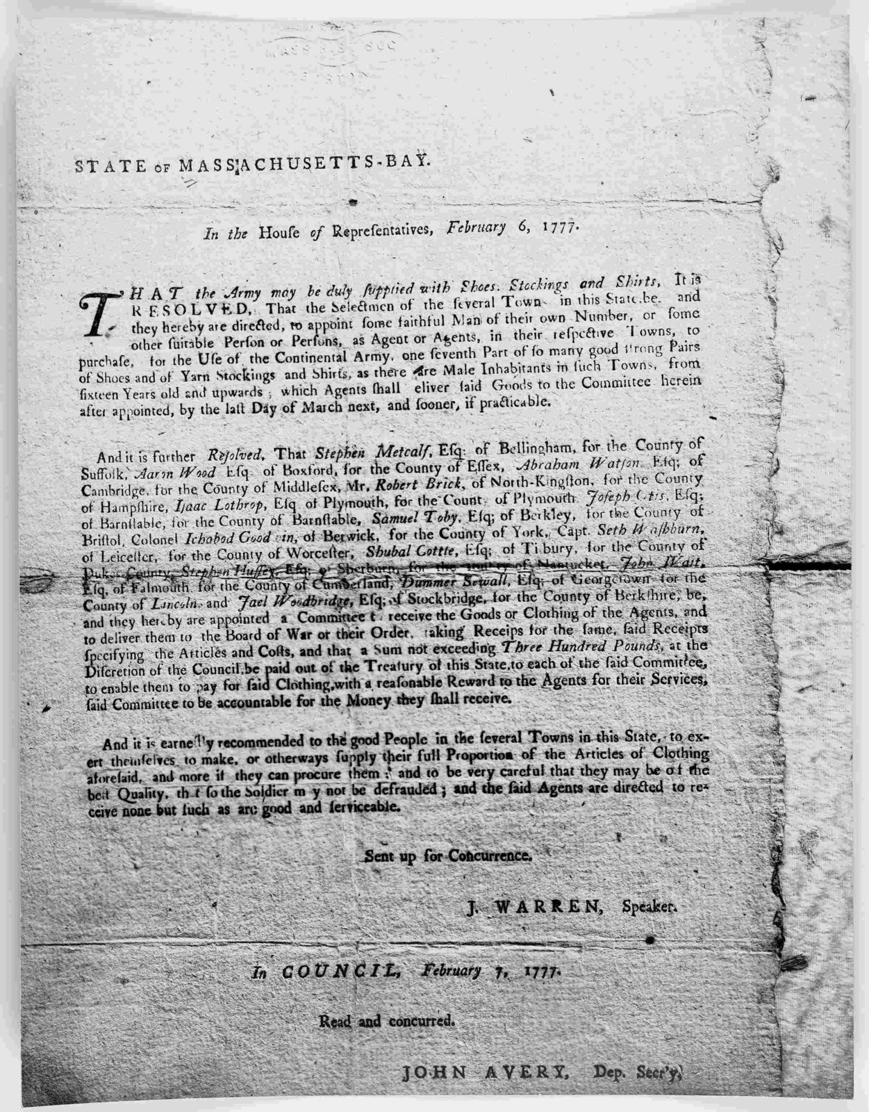 State of Massachusetts-Bay. In the House of representatives. February 6, 1777. That the army may be duly supplied with shoes, stockings and shirts ... [Boston: Printed by Benjamin Edes, 1777].