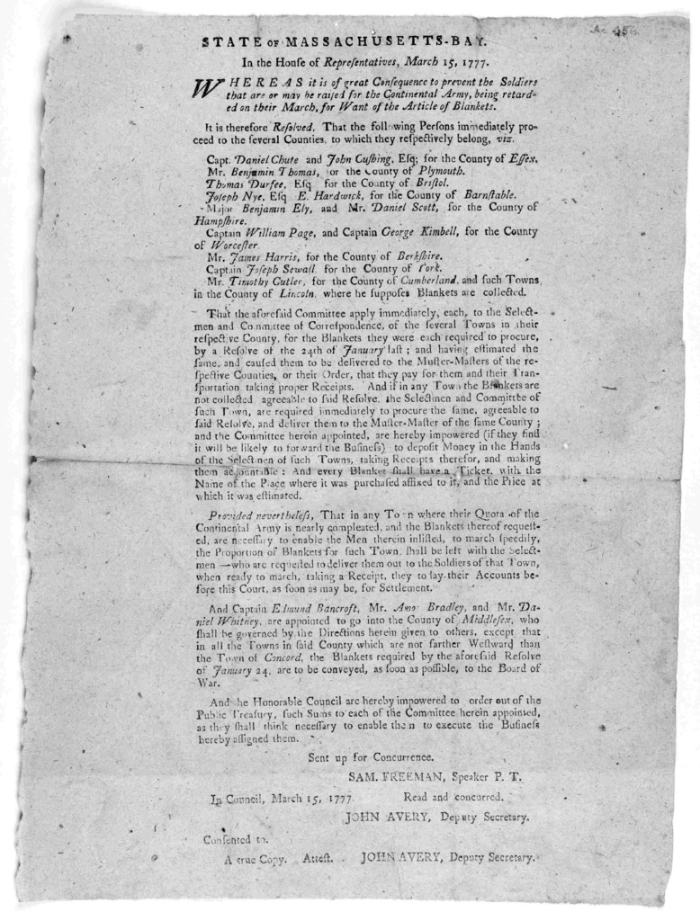 State of Massachusetts-Bay. In the House of representatives, March 15, 1777. Whereas it is of great consequences to prevent the soldiers that are or may be raised for the Continental Army ... In Council March 15, 1777. Read and concurred. John A