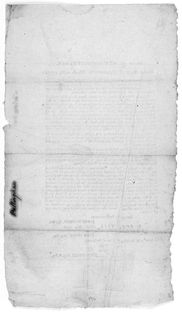 State of Massachusetts-Bay. In the House of Representatives. March 17th, 1777. Whereas it is indispensably necessary that the troops raised and raising in this state for the Continental army ... In Council, March 18th, 1777. Read and concurred.